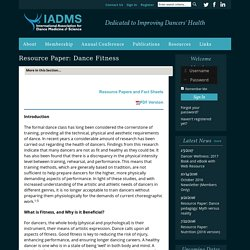 Resource Paper: Dance Fitness - International Association for Dance Medicine & Science