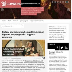 Culture and Education Committee does not fight for a copyright that supports education - International Communia Association
