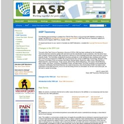 International Association for the Study of Pain | IASP Taxonomy