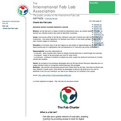 Fab Lab - Charte des Fab Labs - International Fab Lab Association
