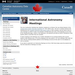 International Astronomy Meetings - Canadian Astronomy Data Centre