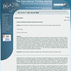 ITJ - The International Tinnitus Journal - Arousal and Attention Deficits in Patients with Tinnitus