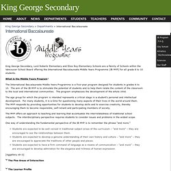 King George Secondary » International Baccalaureate