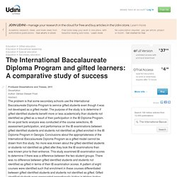 The International Baccalaureate Diploma Program and gifted learners: A comparative study of success