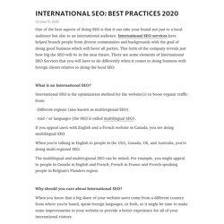INTERNATIONAL SEO: BEST PRACTICES 2020