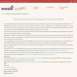 International Standard Bibliographic Description (ISBD)