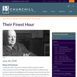Their Finest Hour - The International Churchill Society