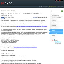 Engine Oil Filter Market International Classification Analysis 2017