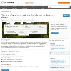 Wenner-Gren International Collaborative Research Grants