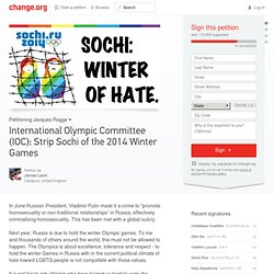 International Olympic Committee (IOC): Strip Sochi of the 2014 Winter Games