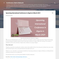 Upcoming International Conference in Algeria in March 2021
