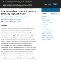 Joint international consensus statement for ending stigma of obesity