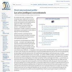 Droit international public/Les actes juridiques conventionnels