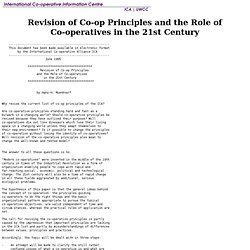 International Cooperative Information Center: Revision of Co-op Principles and the Role of Co-operatives in the 21st Century