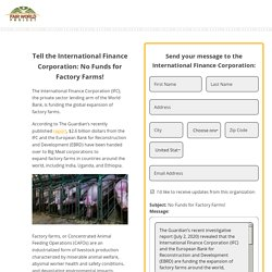 Tell the International Finance Corporation: No Funds for Factory Farms !