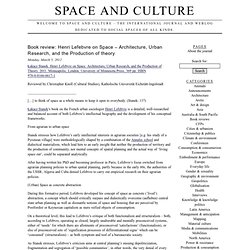 Space and Culture › Welcome to Space and Culture – the international journal and weblog dedicated to social spaces of all kinds.