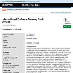 International Defence Training Desk Officer - Civil Service Jobs - GOV.UK