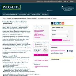 International aid/development worker: Job description