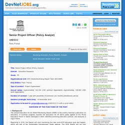 International Development - Senior Project Officer (Policy Analyst), UNESCO, France - DevNetJobs.org