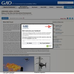 Unmanned Aerial Systems: Status of Test Sites and International Developments