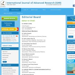 International Journal of Advanced Research (IJAR) Editorial Board