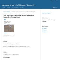 Vol. 16 No. 2 (2020): International Journal of Education Through Art