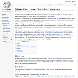International Human Dimensions Programme