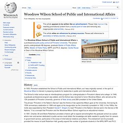 Princeton Univ. - Woodrow Wilson School of Public and International Affairs