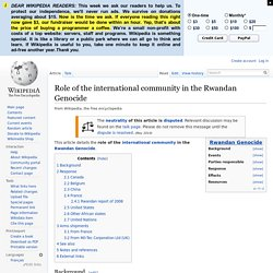 Role of the international community in the Rwandan Genocide
