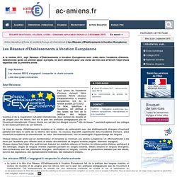 Action éducative-École et société-Europe et International-Les Réseaux d'Etablissements à Vocation Européenne