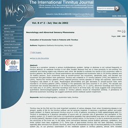 ITJ - The International Tinnitus Journal - Evaluation of Oculomotor Tests in Patients with Tinnitus