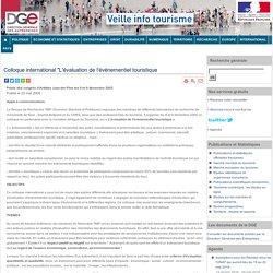"""Colloque international """"L'évaluation de l'évènementiel touristique"""