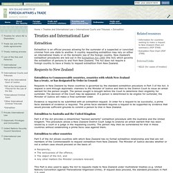 Treaties and International Law - International Courts and Tribunals - Extradition - NZ Ministry of Foreign Affairs and Trade>