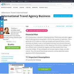International Travel Agency Business Plan Sample - Financial Plan
