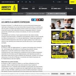 Les limites à la liberté d'expression - Amnesty International Belgique Francophone