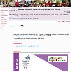 Séminaire international LVE 2018, 'pratiques immersives en éducation' -