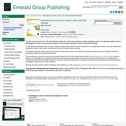 International Journal for Lesson and Learning Studies information
