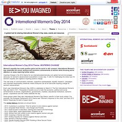 INTERNATIONAL WOMEN'S DAY 2014 Theme: Inspiring Change