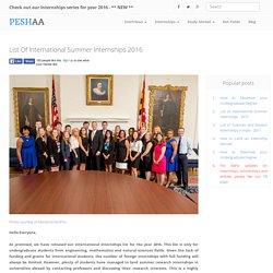 List of International Summer Internships 2016 - Peshaa