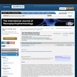 The International Journal of Neuropsychopharmacology - Abstract - Recent non-medication trials of interpersonal psychotherapy for depression