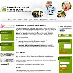 International Journal of Food Studies