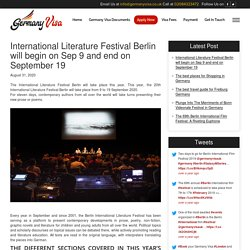 International Literature Festival Berlin will begin on Sep 9 and end on September 19 -