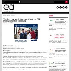 The international Summer School on CSR Management in Hamburg