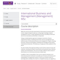 International Business and Management (Management) MSc - 2016 entry - course details