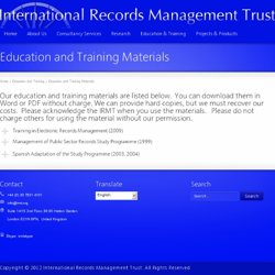 Education and Training Materials | International Records Management Trust