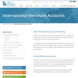 International Merchant Accounts - Real Time Multi Currency