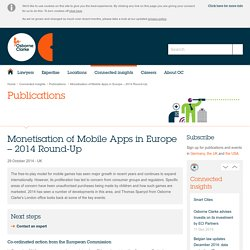 Osborne Clarke – an International Legal Practice: Monetisation of Mobile Apps in Europe – 2014 Round-Up