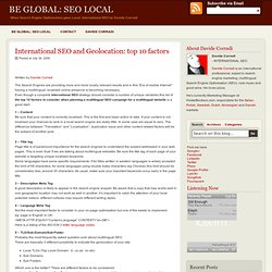 International SEO and Geolocation: top 10 factors - Multilingual SEO | BE GLOBAL: SEO LOCAL | Davide Corradi