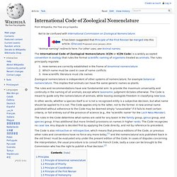 International Code of Zoological Nomenclature
