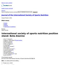 2015 Beta-Alanine: International society of sports nutrition position stand
